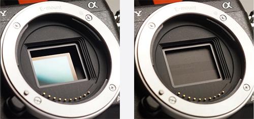 Obturador cerrado y abierto en una camara de fotos
